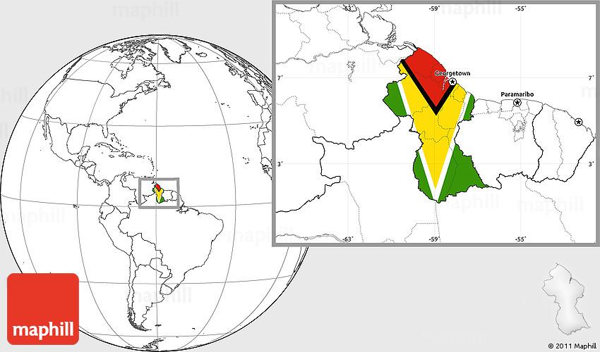 Flag Location Map of Guyana blank outside