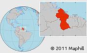 Gray Location Map of Guyana