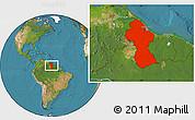 Satellite Location Map of Guyana
