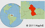 Savanna Style Location Map of Guyana