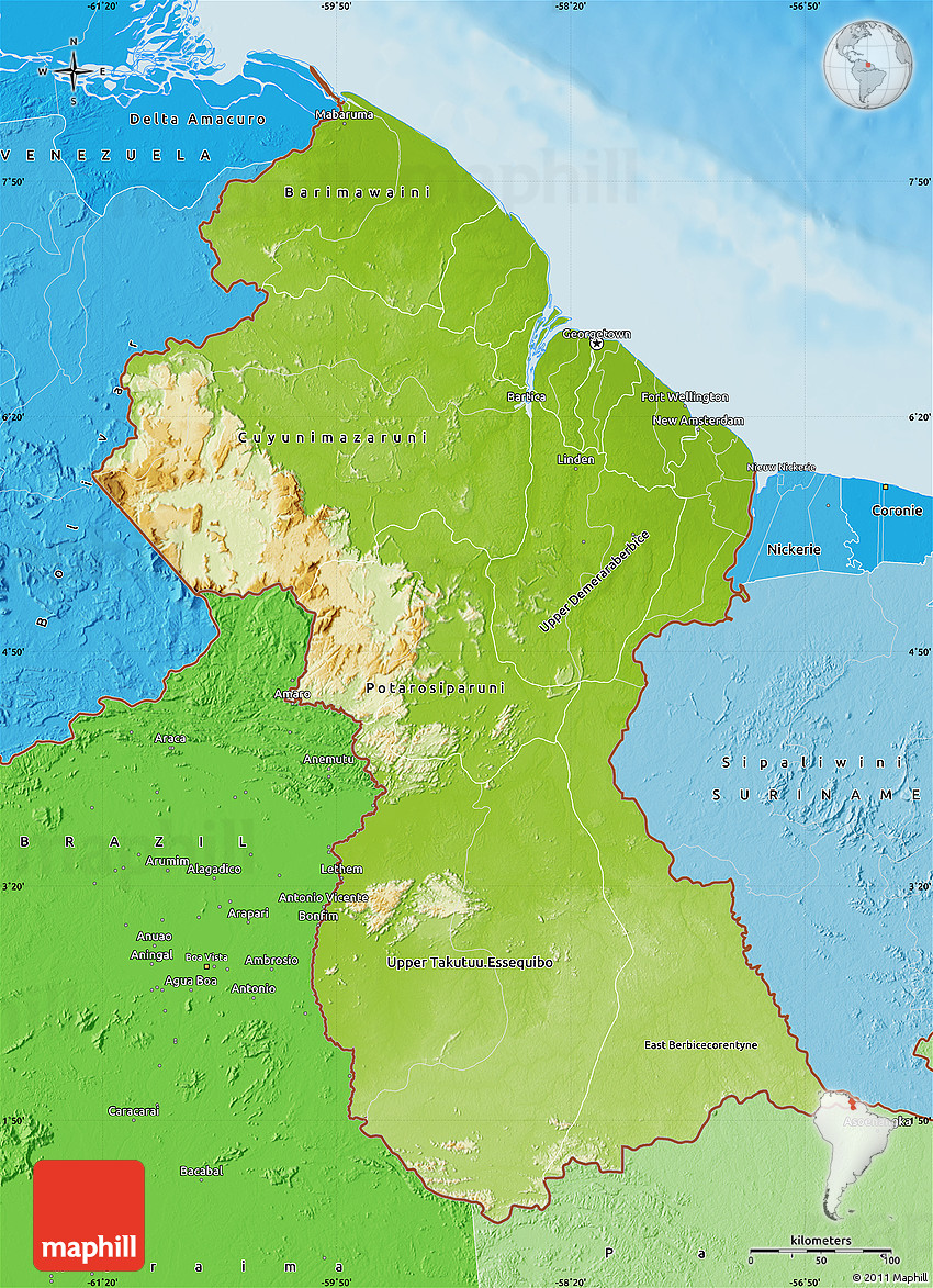 physical map of guyana  political shades outside  shaded