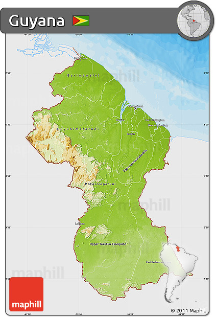 Free Physical Map Of Guyana Single Color Outside Bathymetry Sea - Guyana physical map