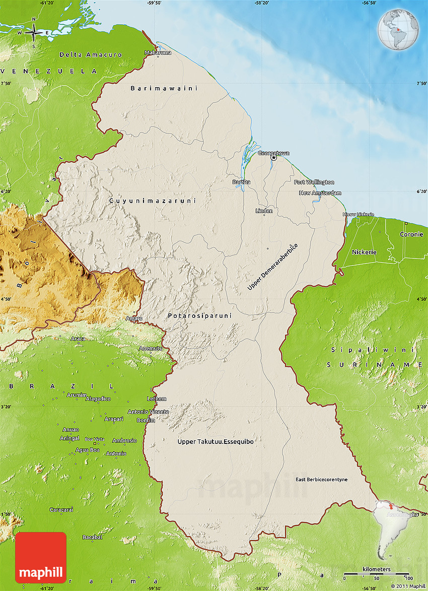 Shaded Relief Map of Guyana physical outside