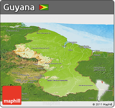 Free Physical Panoramic Map of Guyana satellite outside shaded