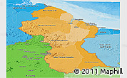 Political Shades Panoramic Map of Guyana