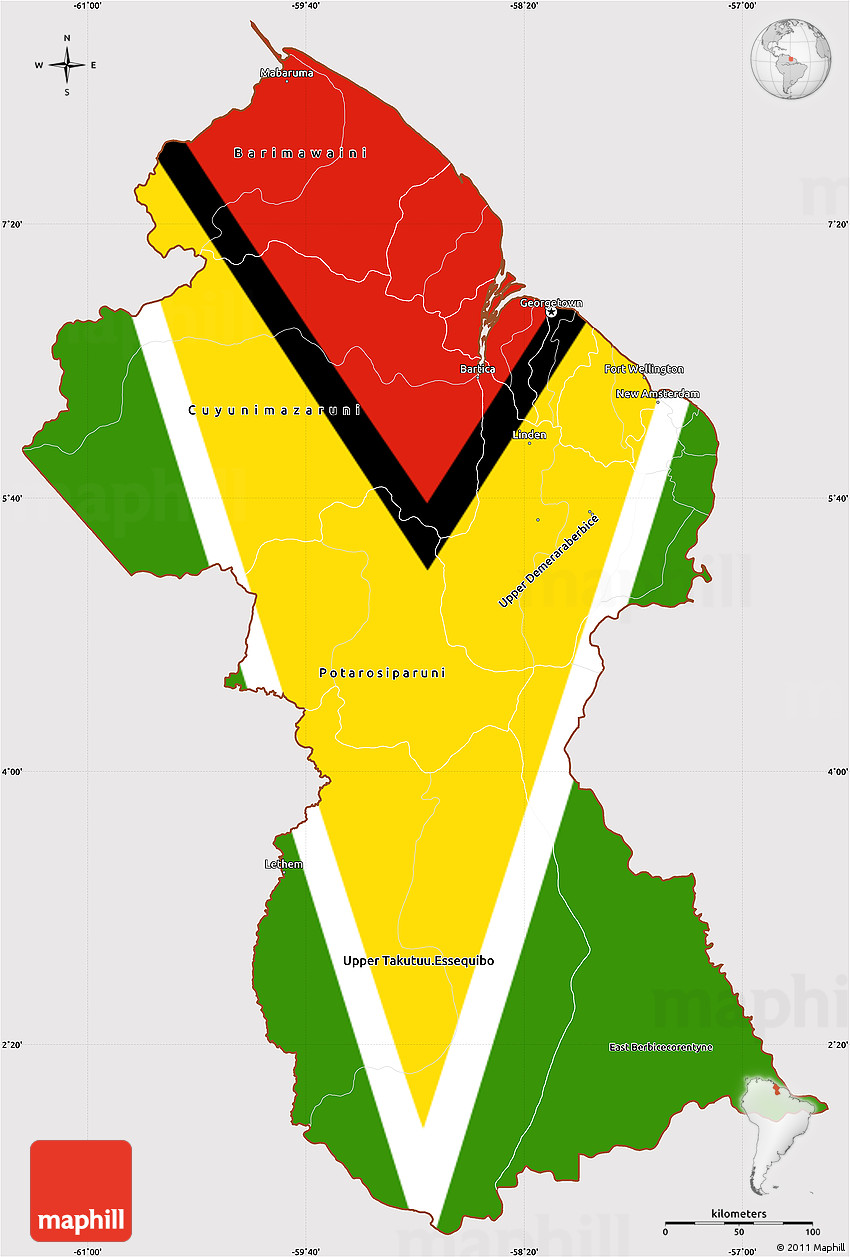 flag simple map of guyana  flag aligned to the middle