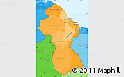 Political Shades Simple Map of Guyana