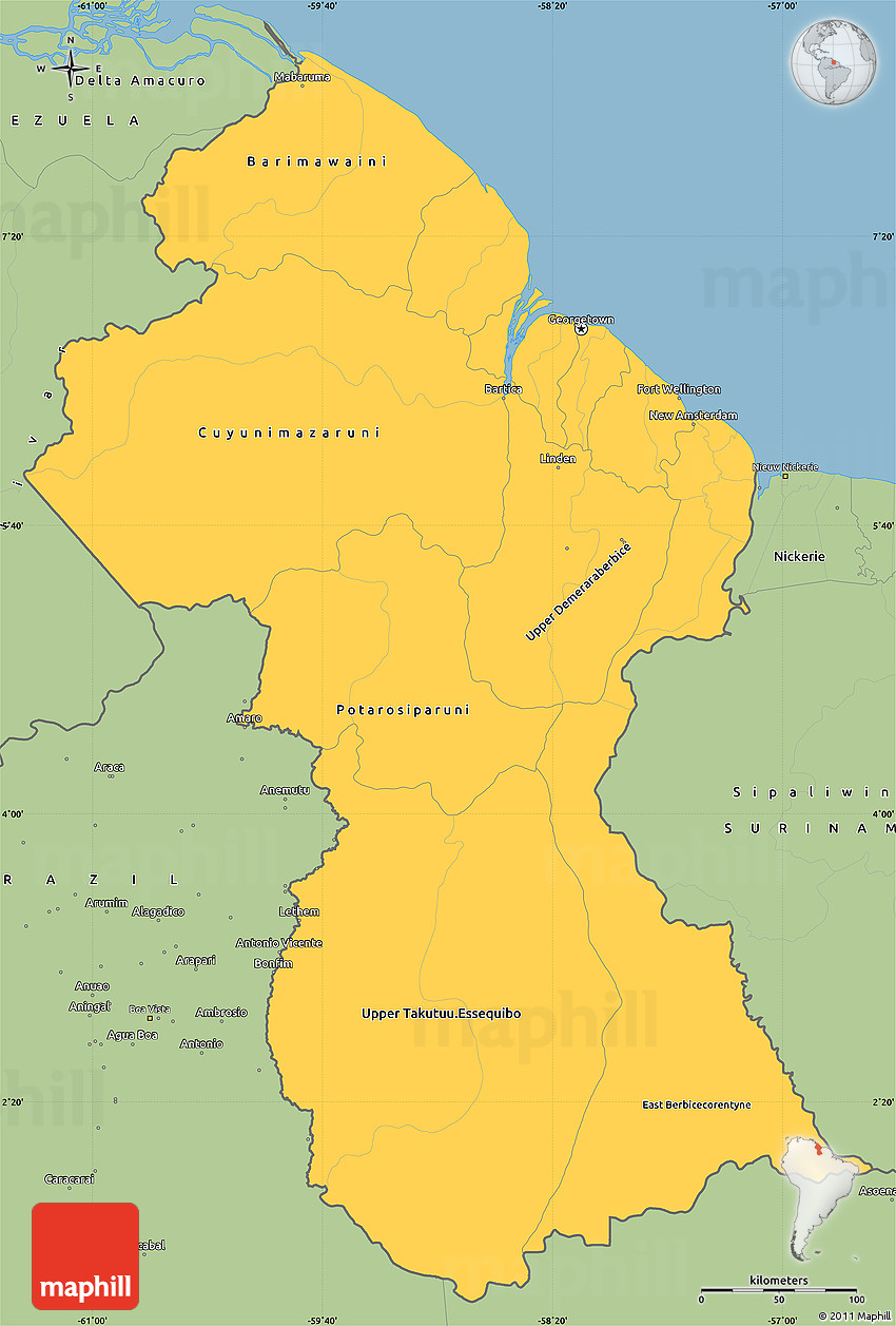 map of guyana images
