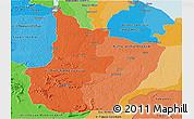 Political Shades Panoramic Map of Upper Demerara/berbice