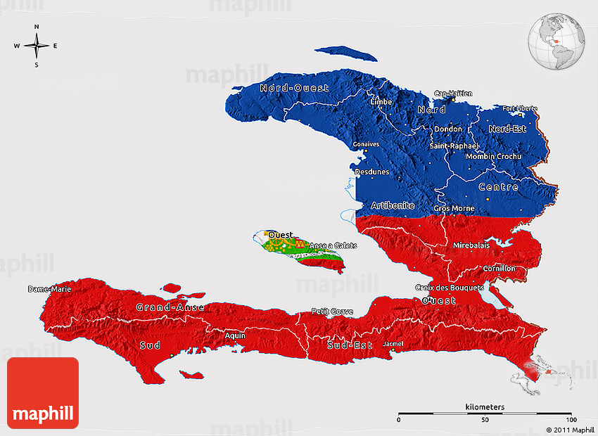 Flag 3D Map of Haiti