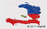 Flag 3D Map of Haiti, flag centered