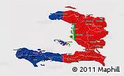 Flag 3D Map of Haiti, flag aligned to the middle