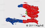 Flag 3D Map of Haiti, flag rotated