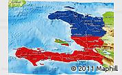 Flag 3D Map of Haiti, physical outside