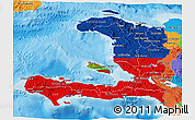 Flag 3D Map of Haiti, political outside