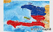 Flag 3D Map of Haiti, political shades outside