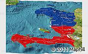 Flag 3D Map of Haiti, satellite outside
