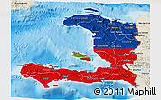 Flag 3D Map of Haiti, shaded relief outside