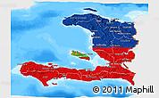 Flag 3D Map of Haiti, single color outside, bathymetry sea