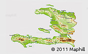 Physical 3D Map of Haiti, cropped outside