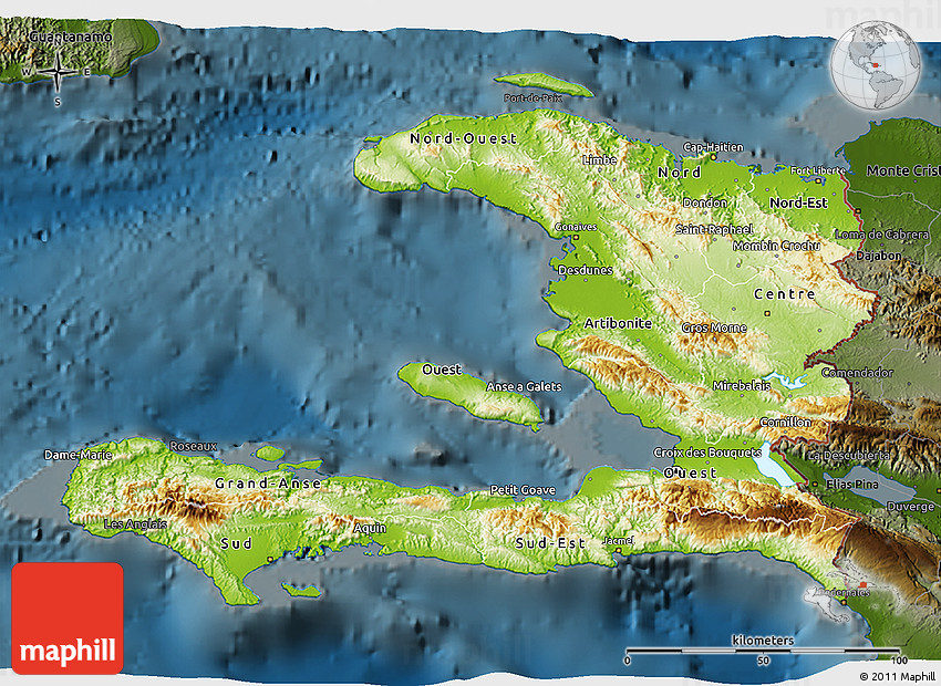 Physical D Map Of Haiti Darken - Physical map of haiti