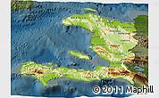 Physical 3D Map of Haiti, darken