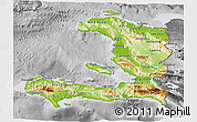 Physical 3D Map of Haiti, desaturated