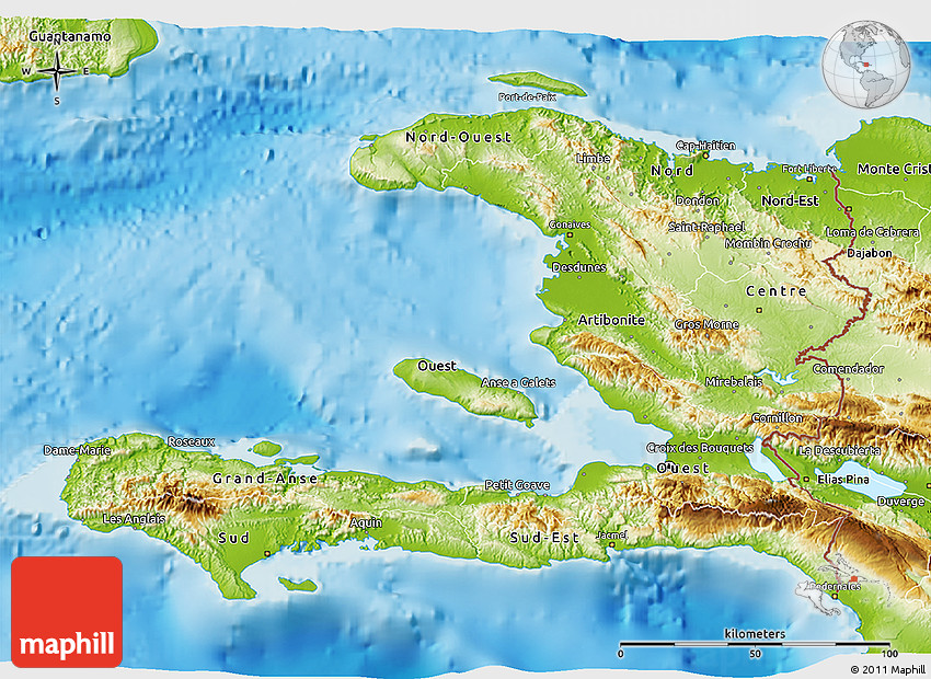 Physical D Map Of Haiti - Physical map of haiti