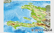 Physical 3D Map of Haiti, semi-desaturated, land only