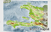 Physical 3D Map of Haiti, semi-desaturated