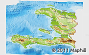 Physical 3D Map of Haiti, single color outside