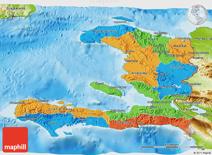 Political D Map Of Haiti Physical Outside - Physical map of haiti