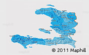Political Shades 3D Map of Haiti, cropped outside