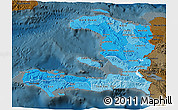 Political Shades 3D Map of Haiti, darken