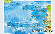 Political Shades 3D Map of Haiti, physical outside