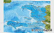 Political Shades 3D Map of Haiti, satellite outside, bathymetry sea