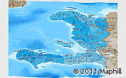 Political Shades 3D Map of Haiti, semi-desaturated, land only