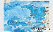 Political Shades 3D Map of Haiti, shaded relief outside, bathymetry sea