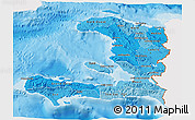 Political Shades 3D Map of Haiti, single color outside