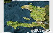 Satellite 3D Map of Haiti, darken