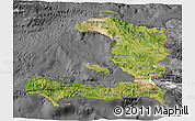 Satellite 3D Map of Haiti, desaturated