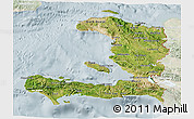 Satellite 3D Map of Haiti, lighten