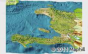 Satellite 3D Map of Haiti, physical outside, satellite sea