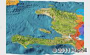 Satellite 3D Map of Haiti, political outside, satellite sea