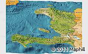 Satellite 3D Map of Haiti, political shades outside, satellite sea