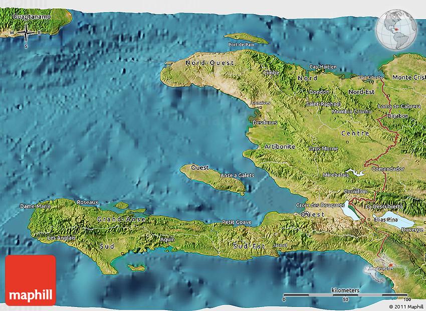 Topographic Map Of Haiti.Satellite 3d Map Of Haiti