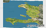 Satellite 3D Map of Haiti, semi-desaturated, land only