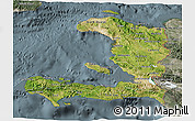 Satellite 3D Map of Haiti, semi-desaturated