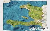 Satellite 3D Map of Haiti, shaded relief outside, satellite sea