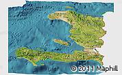 Satellite 3D Map of Haiti, single color outside